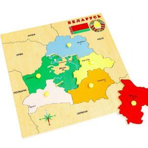 Деревянный планшет Карта Беларуси (разборная картинка)