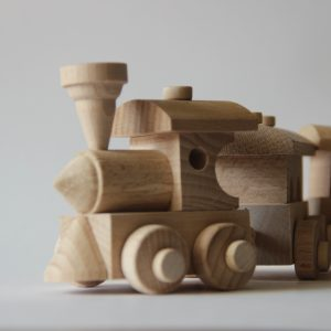 """Wooden train toy """"Train and three cars"""""""